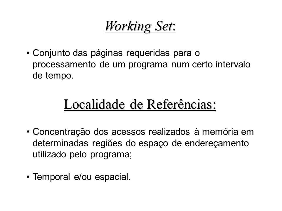 Conjunto das páginas requeridas para o processamento de um programa num certo intervalo de tempo.