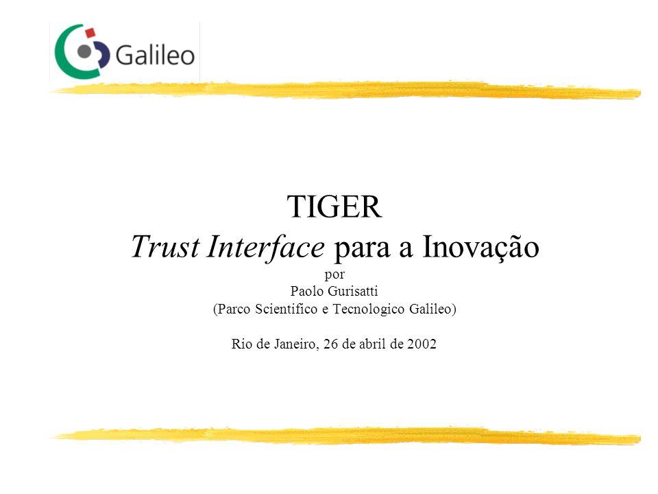 TIGER Trust Interface para a Inovação por Paolo Gurisatti (Parco Scientifico e Tecnologico Galileo) Rio de Janeiro, 26 de abril de 2002