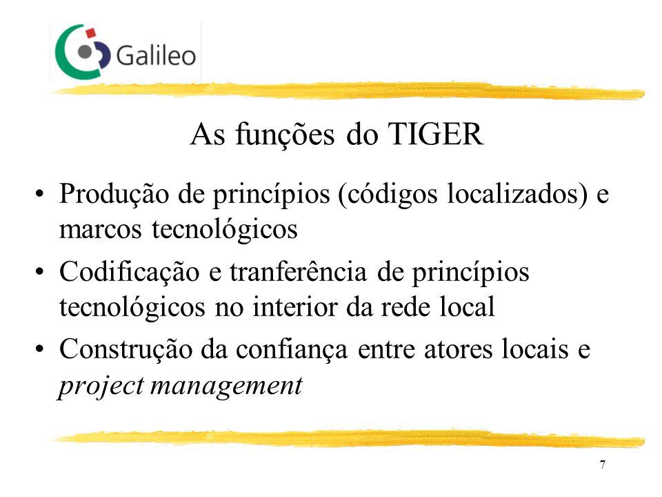 7 As funções do TIGER Produção de princípios (códigos localizados) e marcos tecnológicos Codificação e tranferência de princípios tecnológicos no inte