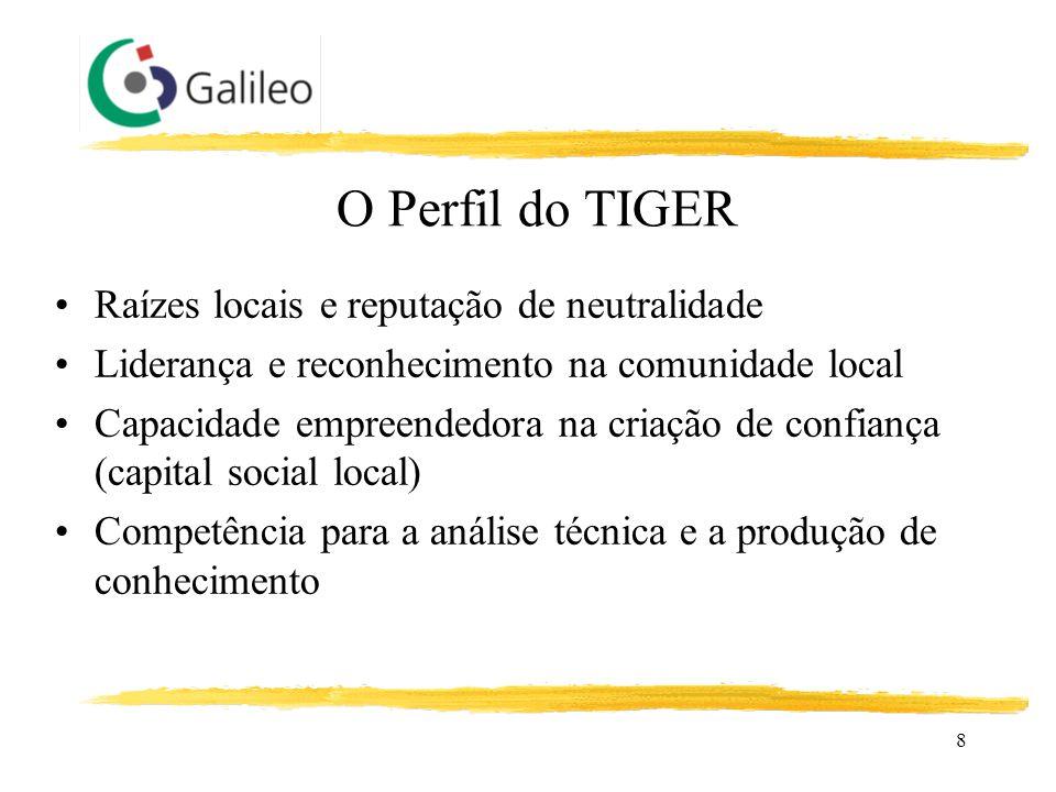 8 O Perfil do TIGER Raízes locais e reputação de neutralidade Liderança e reconhecimento na comunidade local Capacidade empreendedora na criação de co