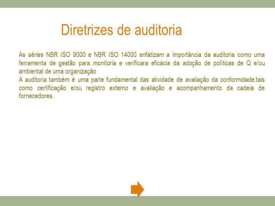 Diretrizes de auditoria As séries NBR ISO 9000 e NBR ISO 14000 enfatizam a importância da auditoria como uma ferramenta de gestão para monitoria e ver
