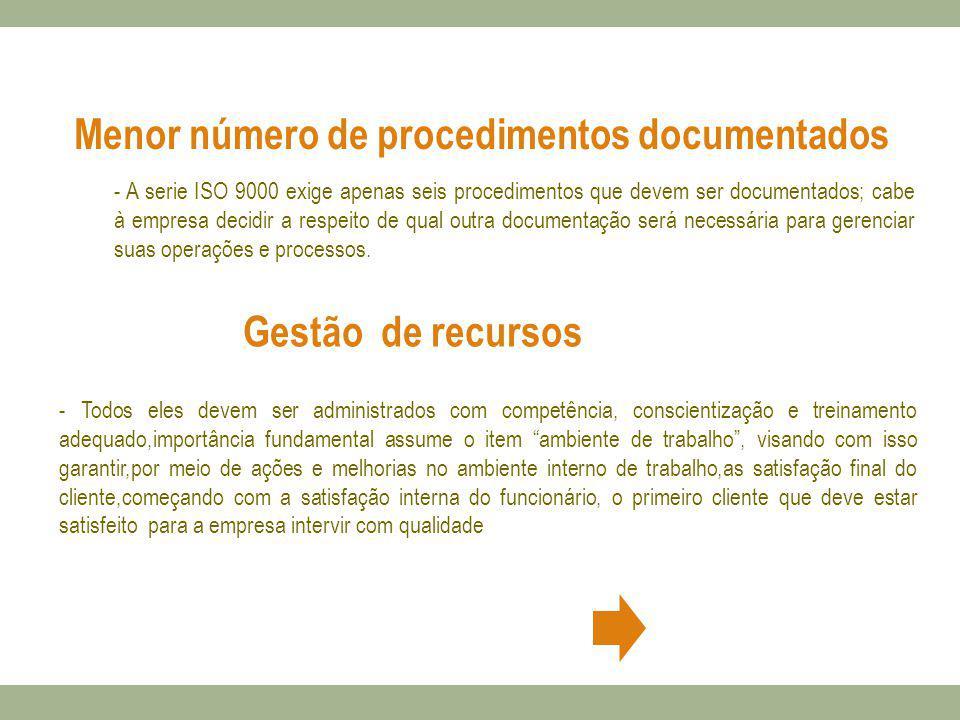 - A serie ISO 9000 exige apenas seis procedimentos que devem ser documentados; cabe à empresa decidir a respeito de qual outra documentação será neces