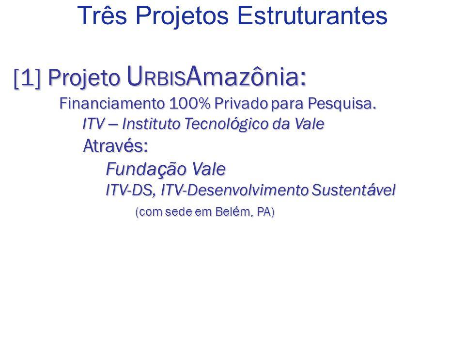 Três Projetos Estruturantes [1] Projeto U RBIS A mazônia: Financiamento 100% Privado para Pesquisa.