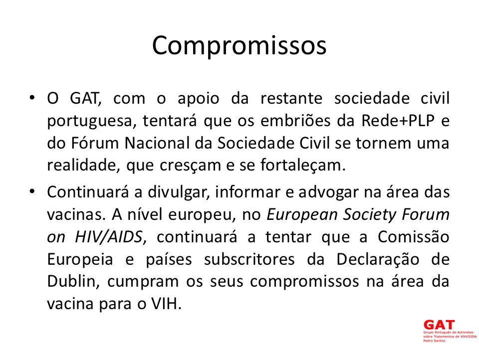 Compromissos O GAT, com o apoio da restante sociedade civil portuguesa, tentará que os embriões da Rede+PLP e do Fórum Nacional da Sociedade Civil se tornem uma realidade, que cresçam e se fortaleçam.
