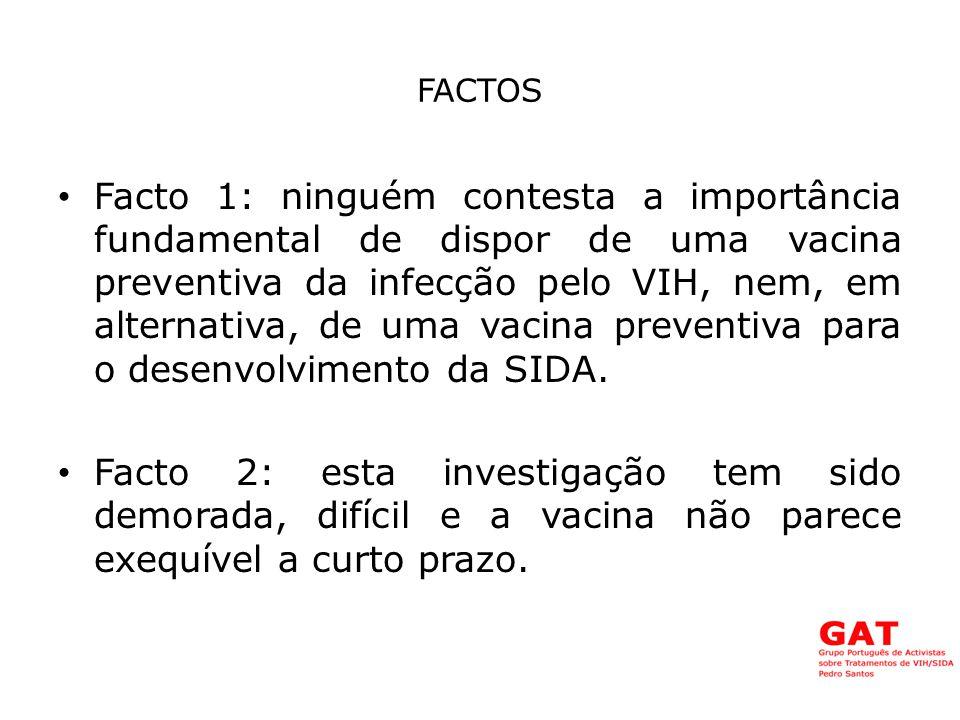 FACTOS Facto 1: ninguém contesta a importância fundamental de dispor de uma vacina preventiva da infecção pelo VIH, nem, em alternativa, de uma vacina preventiva para o desenvolvimento da SIDA.