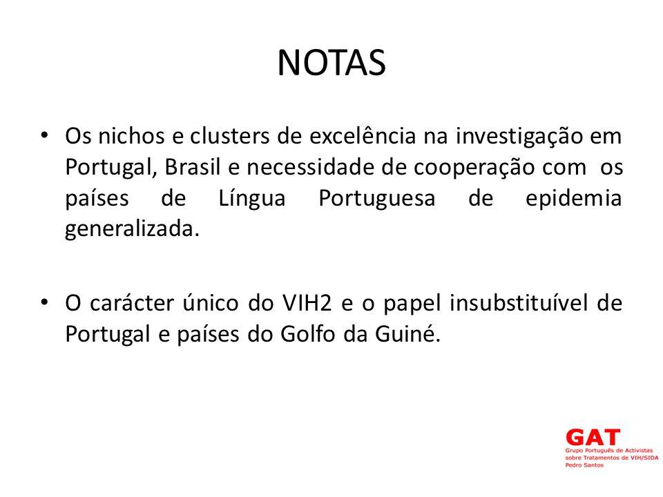 NOTAS Os nichos e clusters de excelência na investigação em Portugal, Brasil e necessidade de cooperação com os países de Língua Portuguesa de epidemia generalizada.