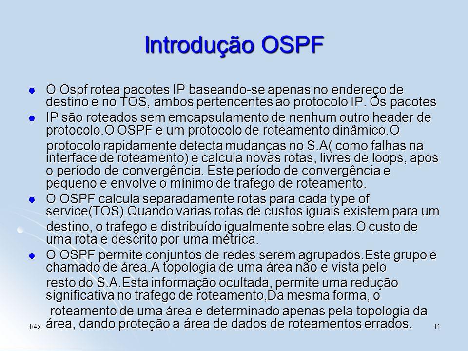 1/4511 Introdução OSPF O Ospf rotea pacotes IP baseando-se apenas no endereço de destino e no TOS, ambos pertencentes ao protocolo IP. Os pacotes O Os