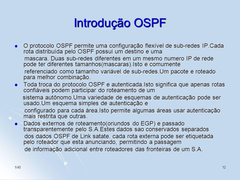 1/4512 Introdução OSPF O protocolo OSPF permite uma configuração flexível de sub-redes IP.Cada rota distribuída pelo OSPF possui um destino e uma O pr