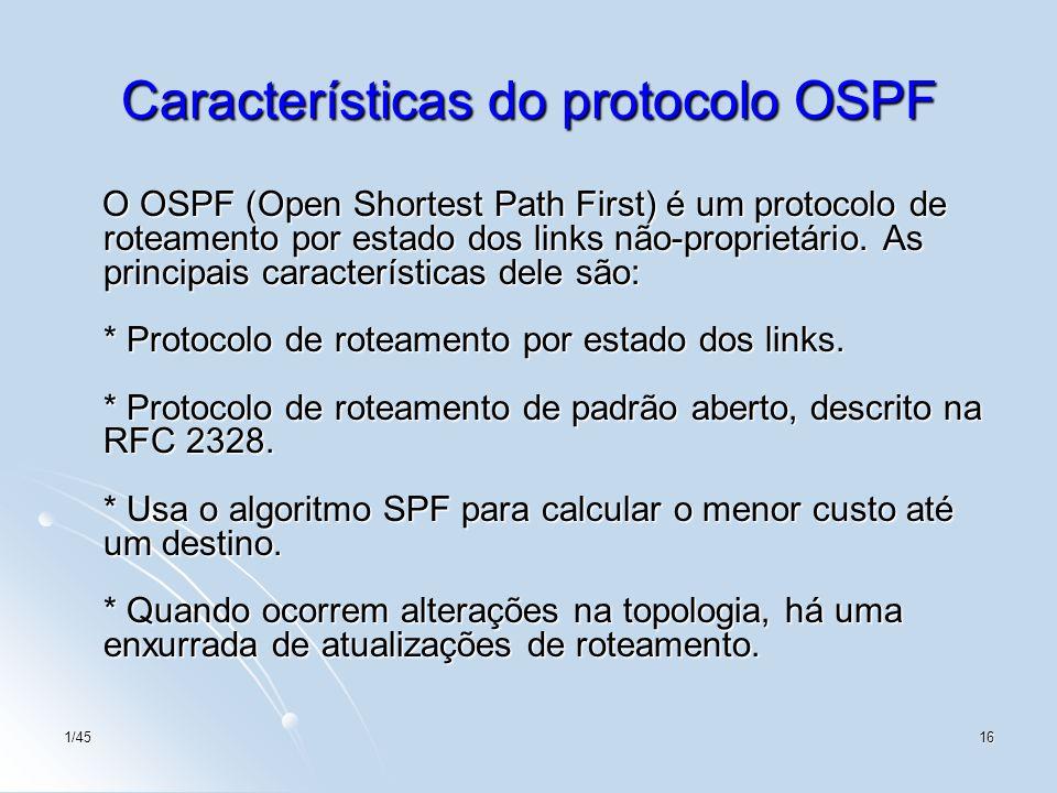 1/4516 Características do protocolo OSPF O OSPF (Open Shortest Path First) é um protocolo de roteamento por estado dos links não-proprietário. As prin