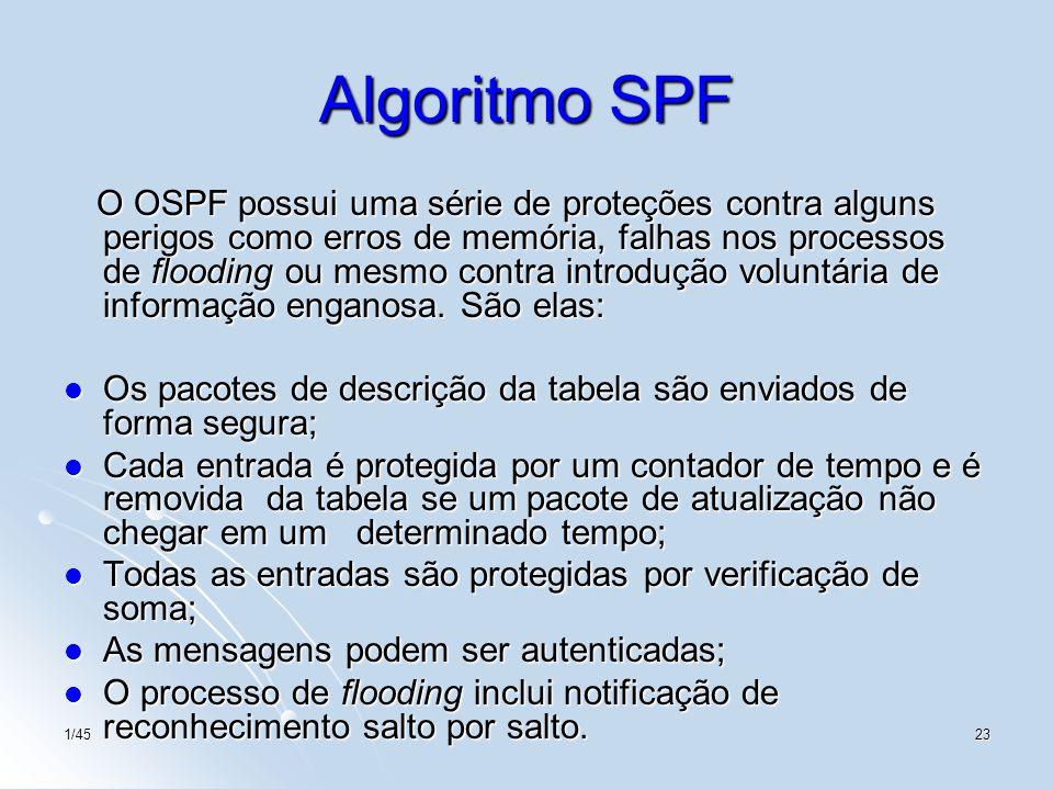 1/4523 Algoritmo SPF O OSPF possui uma série de proteções contra alguns perigos como erros de memória, falhas nos processos de flooding ou mesmo contr