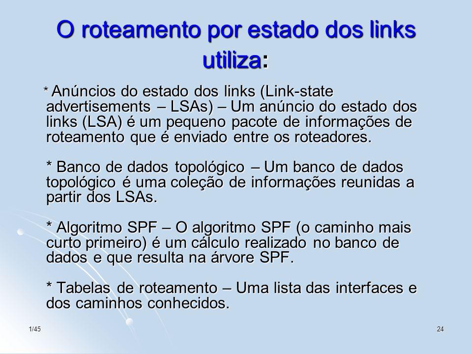 1/4524 O roteamento por estado dos links utiliza: * Anúncios do estado dos links (Link-state advertisements – LSAs) – Um anúncio do estado dos links (