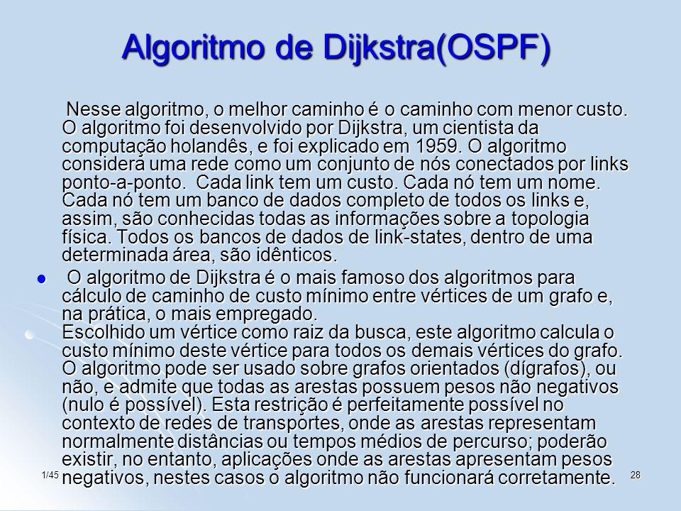 1/4528 Algoritmo de Dijkstra(OSPF) Nesse algoritmo, o melhor caminho é o caminho com menor custo. O algoritmo foi desenvolvido por Dijkstra, um cienti