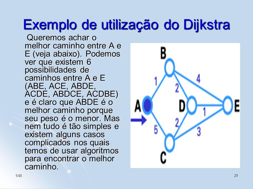 1/4529 Exemplo de utilização do Dijkstra Queremos achar o melhor caminho entre A e E (veja abaixo). Podemos ver que existem 6 possibilidades de caminh