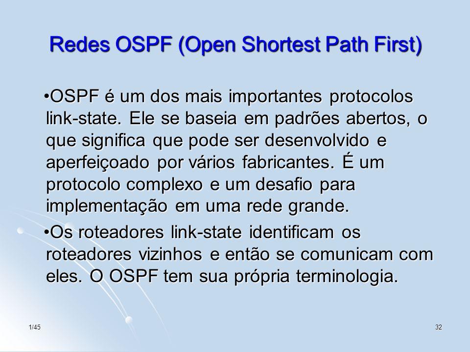 1/4532 Redes OSPF (Open Shortest Path First) OSPF é um dos mais importantes protocolos link-state. Ele se baseia em padrões abertos, o que significa q