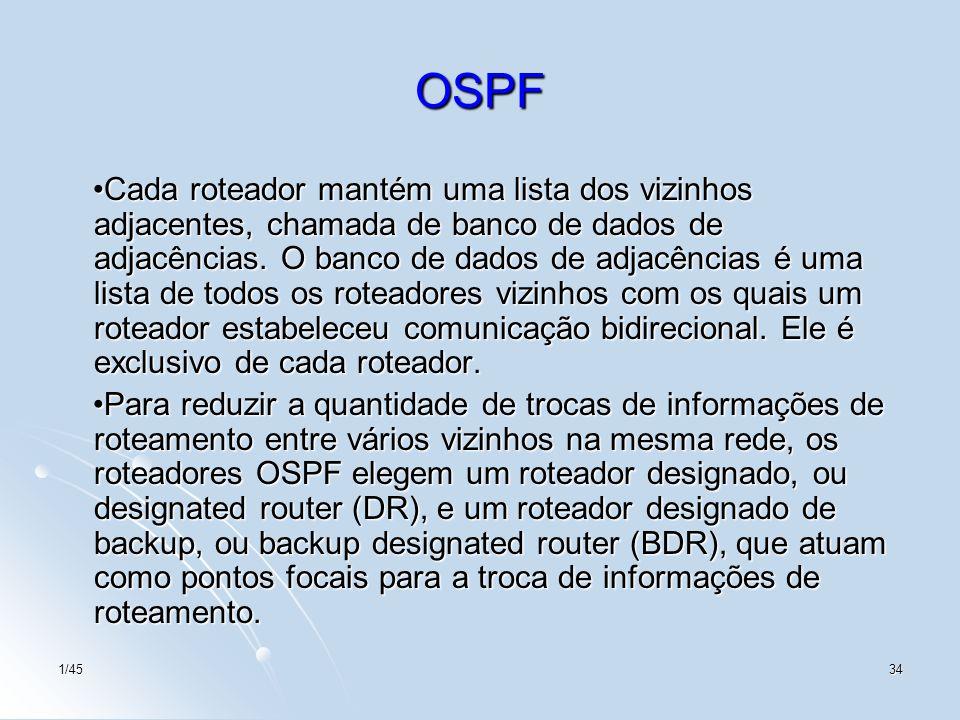 1/4534 OSPF Cada roteador mantém uma lista dos vizinhos adjacentes, chamada de banco de dados de adjacências. O banco de dados de adjacências é uma li
