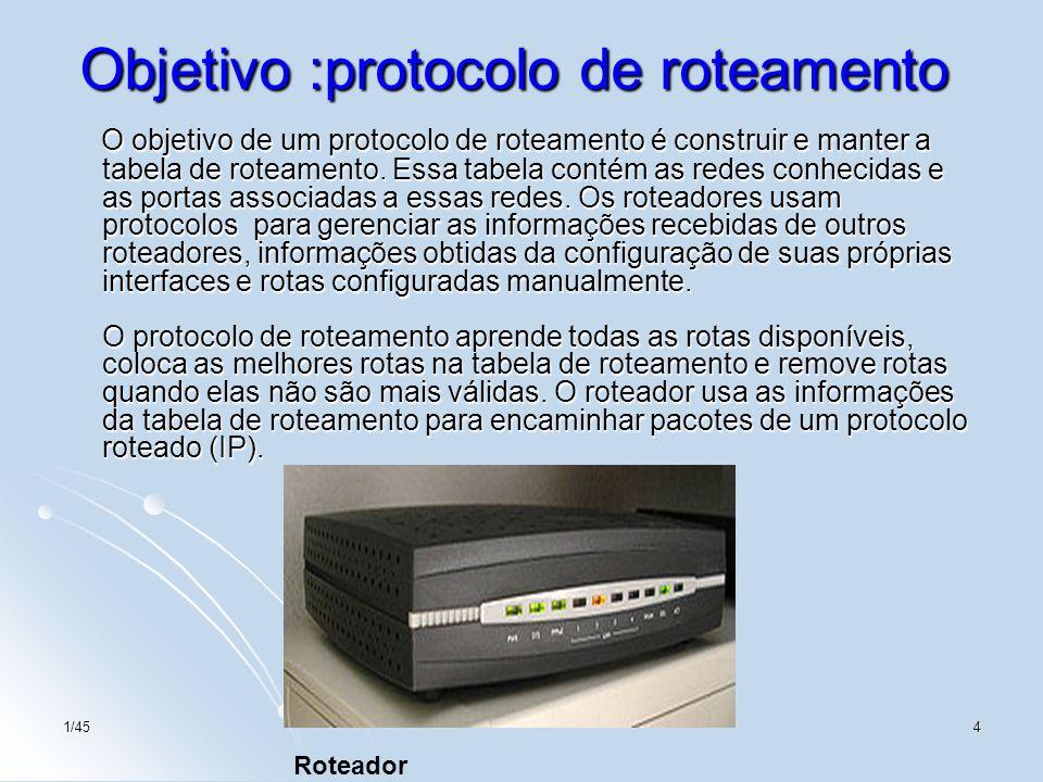 1/454 Objetivo :protocolo de roteamento O objetivo de um protocolo de roteamento é construir e manter a tabela de roteamento. Essa tabela contém as re