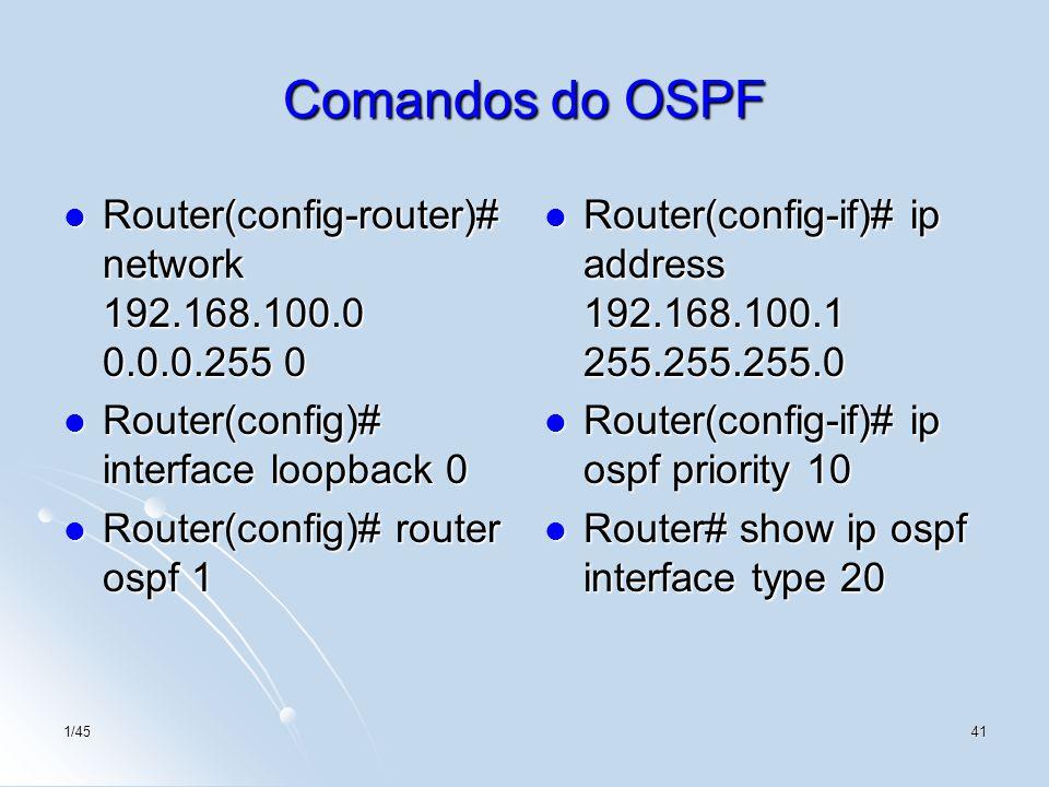 1/4541 Comandos do OSPF Router(config-router)# network 192.168.100.0 0.0.0.255 0 Router(config-router)# network 192.168.100.0 0.0.0.255 0 Router(confi
