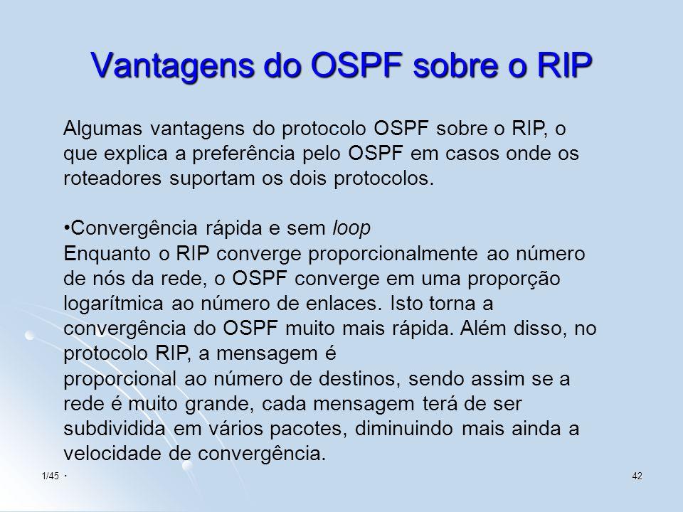 1/4542 Vantagens do OSPF sobre o RIP Algumas vantagens do protocolo OSPF sobre o RIP, o que explica a preferência pelo OSPF em casos onde os roteadore