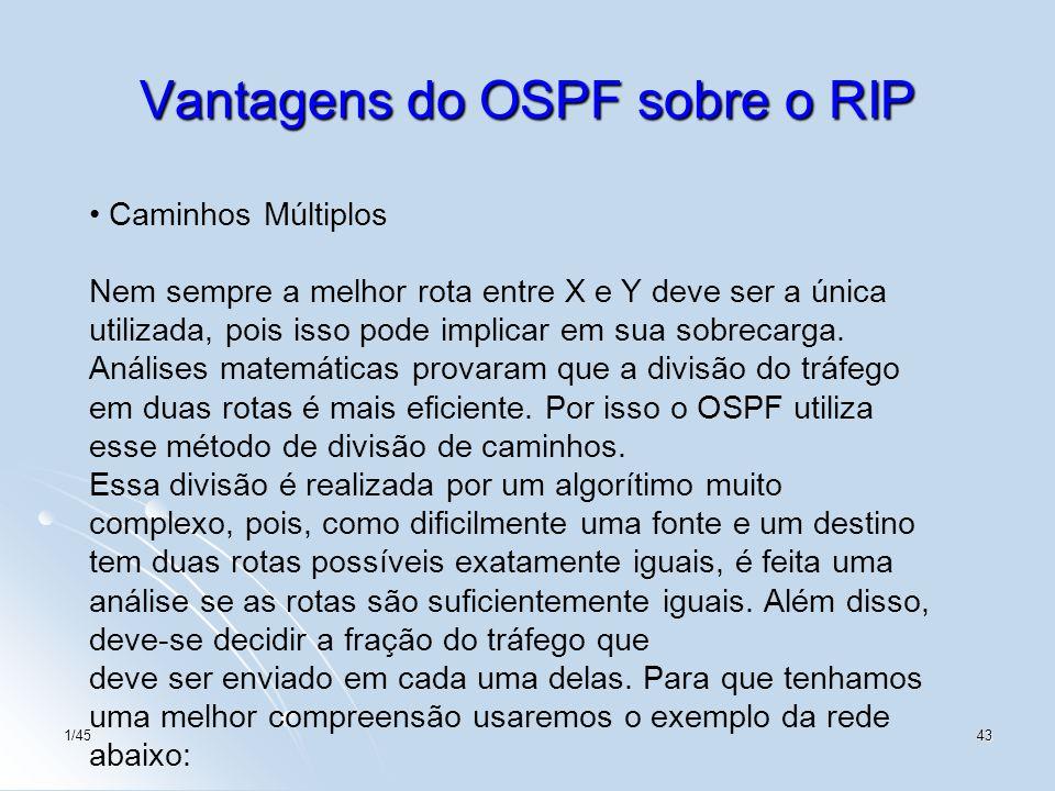 1/4543 Vantagens do OSPF sobre o RIP Caminhos Múltiplos Nem sempre a melhor rota entre X e Y deve ser a única utilizada, pois isso pode implicar em su