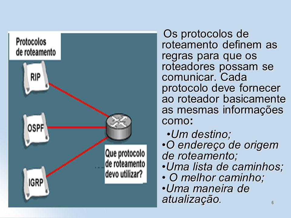 1/456 Os protocolos de roteamento definem as regras para que os roteadores possam se comunicar. Cada protocolo deve fornecer ao roteador basicamente a