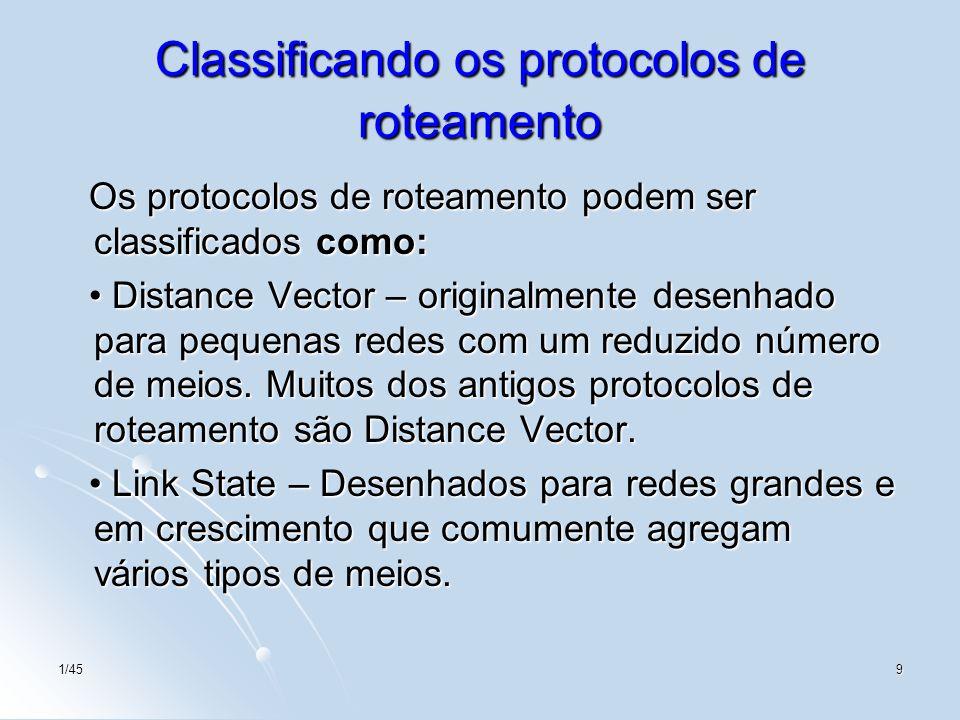 1/459 Classificando os protocolos de roteamento Os protocolos de roteamento podem ser classificados como: Os protocolos de roteamento podem ser classi