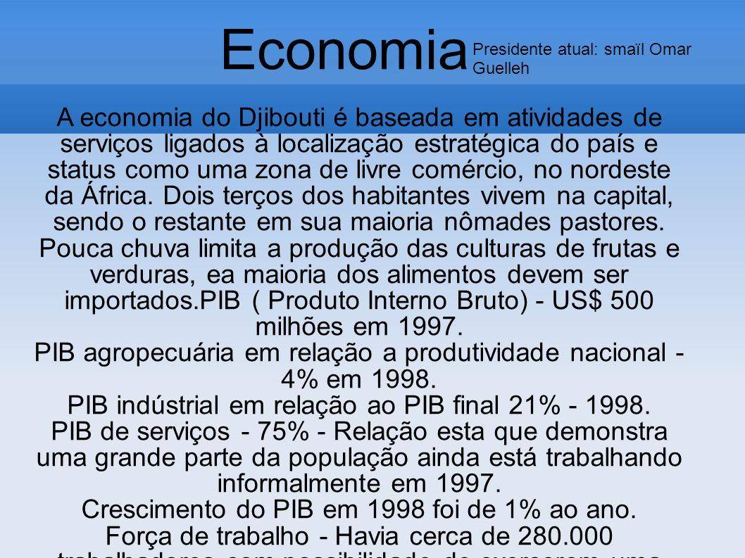A economia do Djibouti é baseada em atividades de serviços ligados à localização estratégica do país e status como uma zona de livre comércio, no nord
