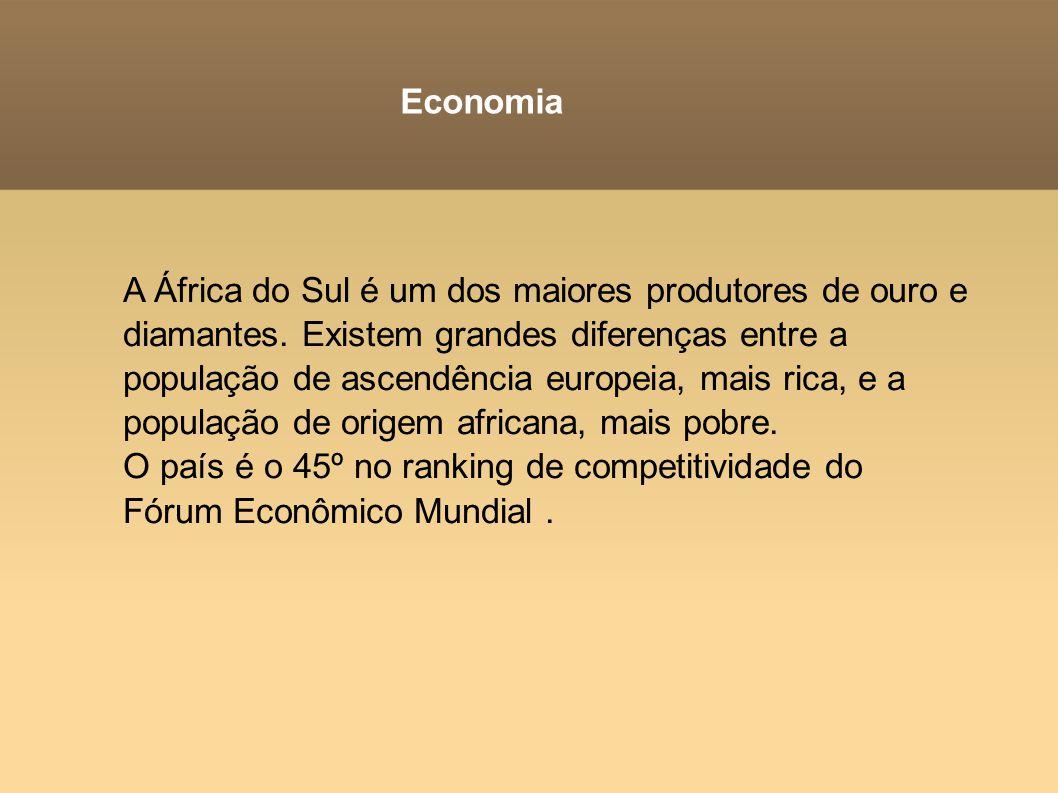 Economia A África do Sul é um dos maiores produtores de ouro e diamantes. Existem grandes diferenças entre a população de ascendência europeia, mais r