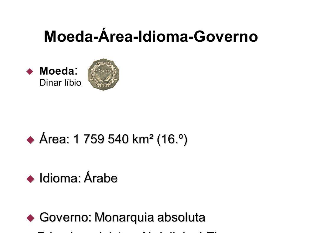 Moeda-Área-Idioma-Governo  Moeda : Dinar líbio  Área: 1 759 540 km² (16.º)  Idioma: Árabe  Governo: Monarquia absoluta - Primeiro-ministro Abdulla