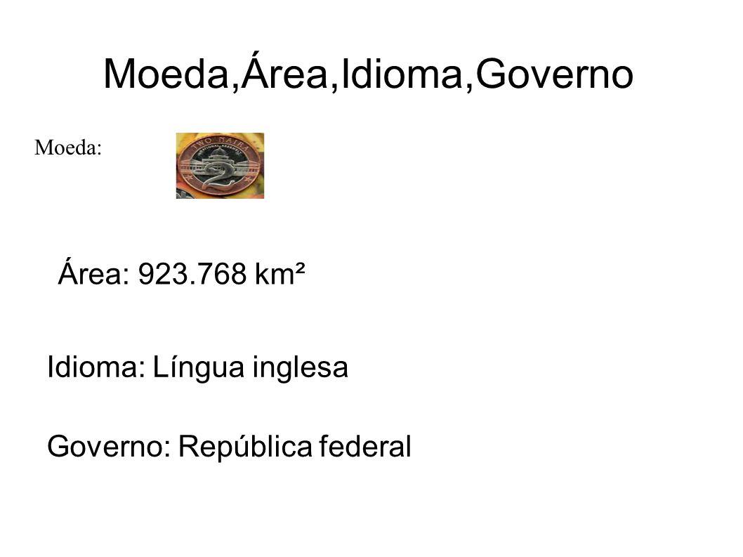Moeda,Área,Idioma,Governo Moeda: Naira Área: 923.768 km² Idioma: Língua inglesa Governo: República federal