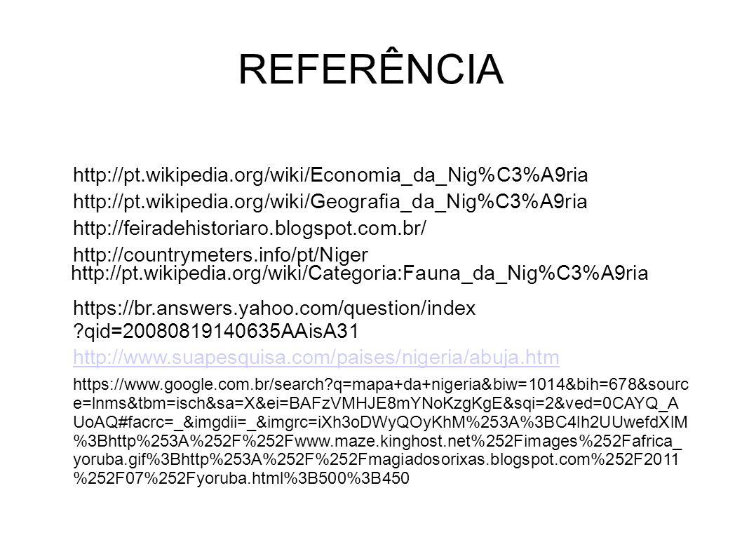 REFERÊNCIA http://pt.wikipedia.org/wiki/Economia_da_Nig%C3%A9ria http://feiradehistoriaro.blogspot.com.br/ http://pt.wikipedia.org/wiki/Geografia_da_N