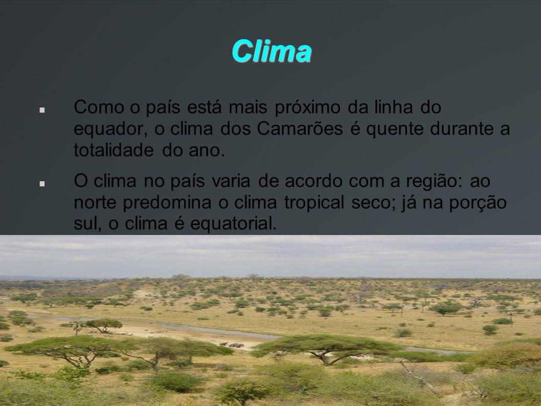 Clima Como o país está mais próximo da linha do equador, o clima dos Camarões é quente durante a totalidade do ano. O clima no país varia de acordo co