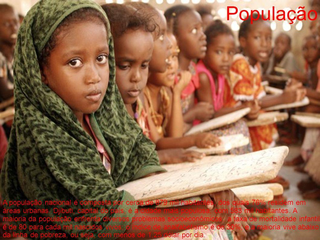 População A população nacional é composta por cerca de 879 mil habitantes, dos quais 76% residem em áreas urbanas. Djibuti, capital do país, é a cidad