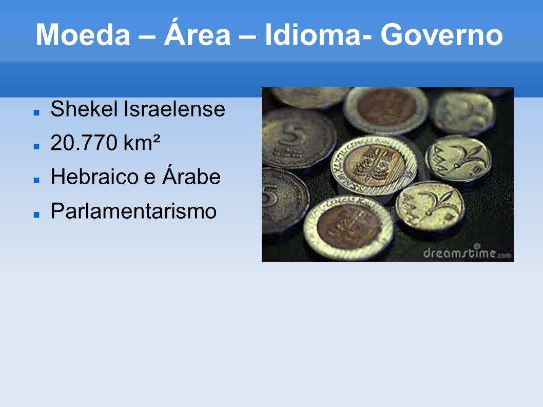 Moeda – Área – Idioma- Governo Shekel Israelense 20.770 km² Hebraico e Árabe Parlamentarismo