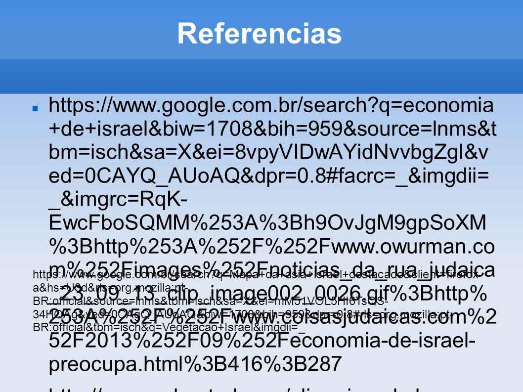 Referencias https://www.google.com.br/search?q=economia +de+israel&biw=1708&bih=959&source=lnms&t bm=isch&sa=X&ei=8vpyVIDwAYidNvvbgZgI&v ed=0CAYQ_AUoA