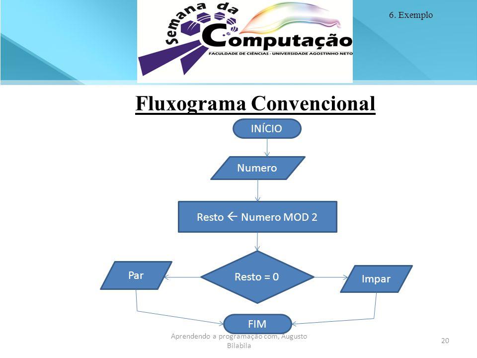 20 Aprendendo a programação com, Augusto Bilabila 20 Aprendendo a programação com, Augusto Bilabila Fluxograma Convencional Resto = 0 Resto  Numero M
