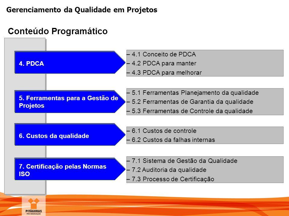 Gerenciamento da Qualidade em Projetos Conteúdo Programático 5. Ferramentas para a Gestão de Projetos –5.1 Ferramentas Planejamento da qualidade –5.2
