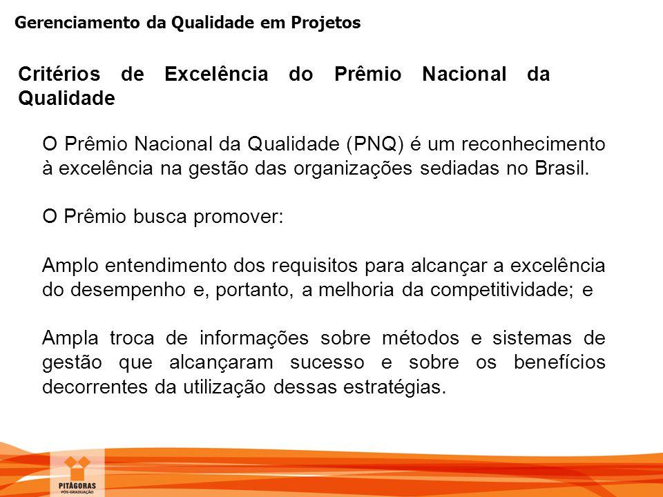 Gerenciamento da Qualidade em Projetos O Prêmio Nacional da Qualidade (PNQ) é um reconhecimento à excelência na gestão das organizações sediadas no Br