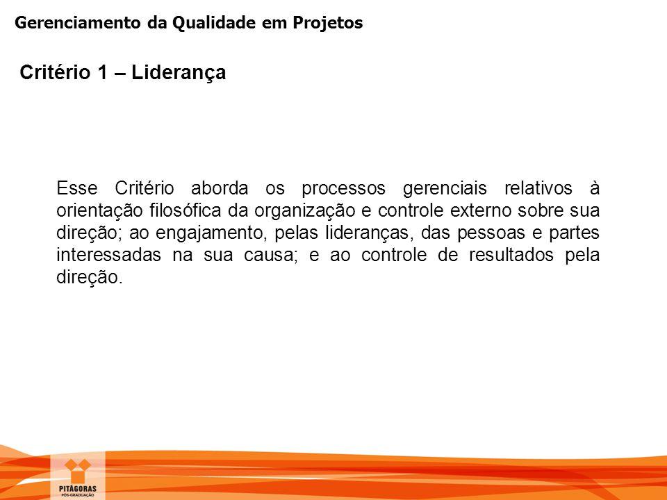 Gerenciamento da Qualidade em Projetos Critério 1 – Liderança Esse Critério aborda os processos gerenciais relativos à orientação filosófica da organi