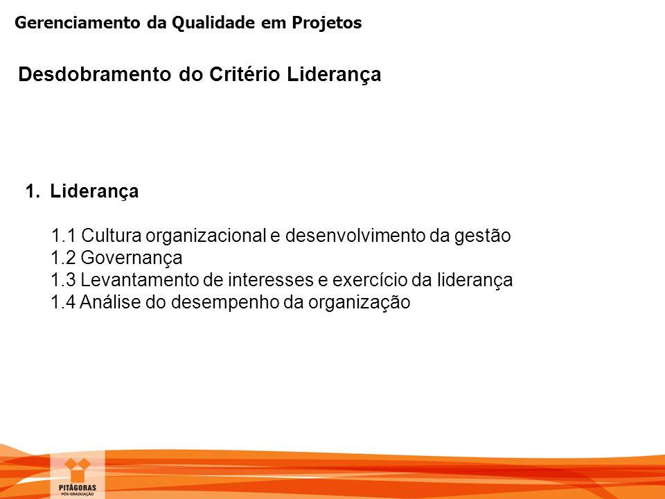 Gerenciamento da Qualidade em Projetos Desdobramento do Critério Liderança 1.Liderança 1.1 Cultura organizacional e desenvolvimento da gestão 1.2 Gove