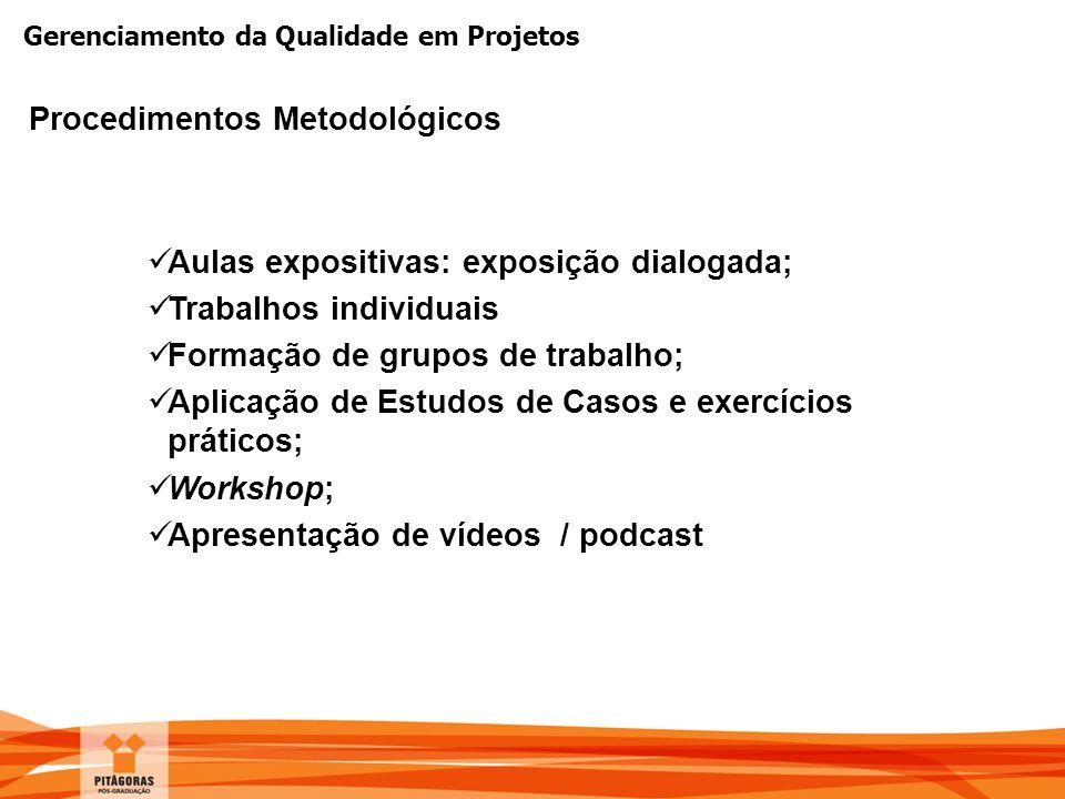 Gerenciamento da Qualidade em Projetos Procedimentos Metodológicos Aulas expositivas: exposição dialogada; Trabalhos individuais Formação de grupos de