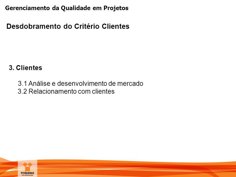 Gerenciamento da Qualidade em Projetos Desdobramento do Critério Clientes 3. Clientes 3.1 Análise e desenvolvimento de mercado 3.2 Relacionamento com
