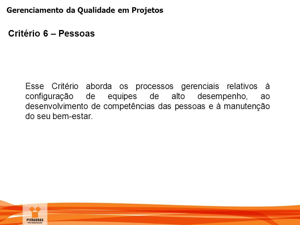 Gerenciamento da Qualidade em Projetos Critério 6 – Pessoas Esse Critério aborda os processos gerenciais relativos à configuração de equipes de alto d