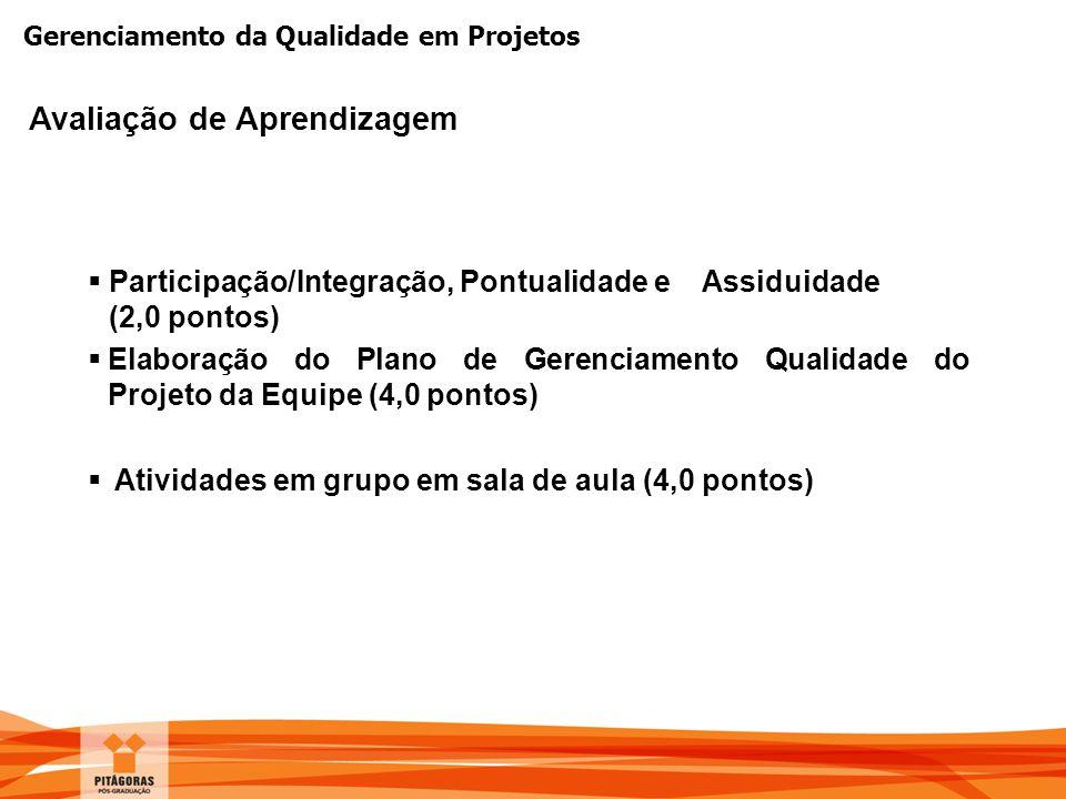 Gerenciamento da Qualidade em Projetos Avaliação de Aprendizagem  Participação/Integração, Pontualidade e Assiduidade (2,0 pontos)  Elaboração do Pl
