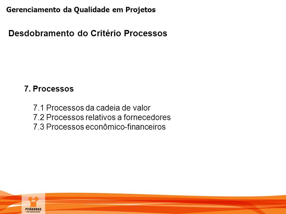 Gerenciamento da Qualidade em Projetos Desdobramento do Critério Processos 7. Processos 7.1 Processos da cadeia de valor 7.2 Processos relativos a for
