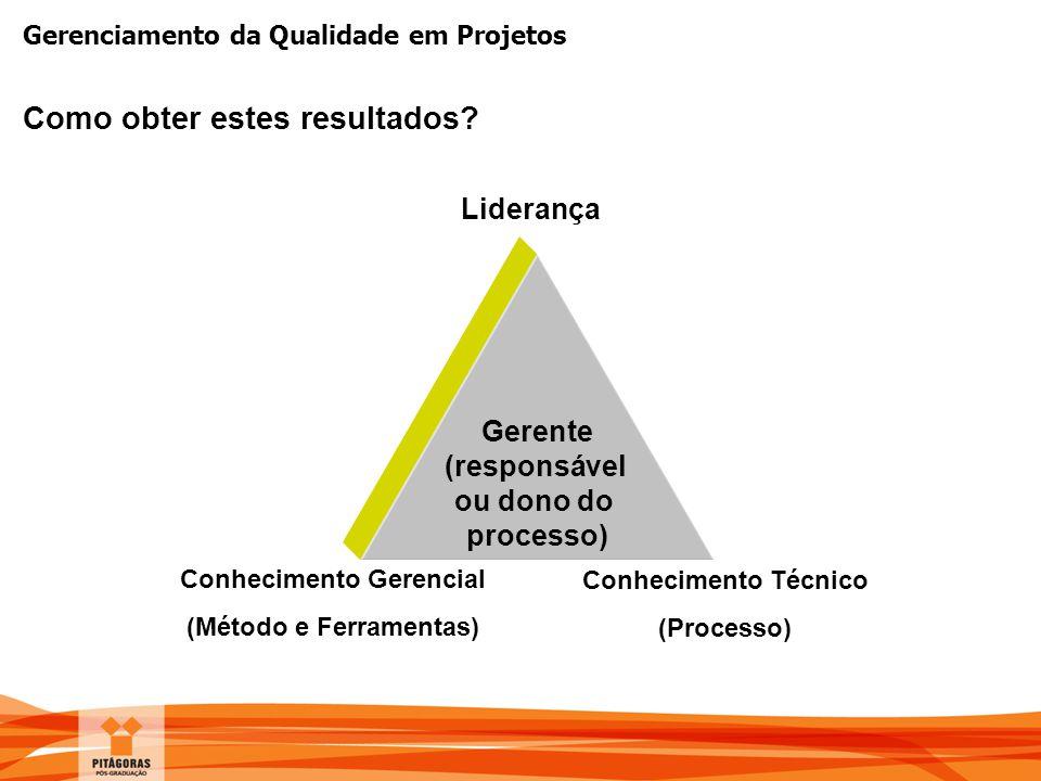 Gerenciamento da Qualidade em Projetos Como obter estes resultados? Gerente (responsável ou dono do processo) Liderança Conhecimento Gerencial (Método