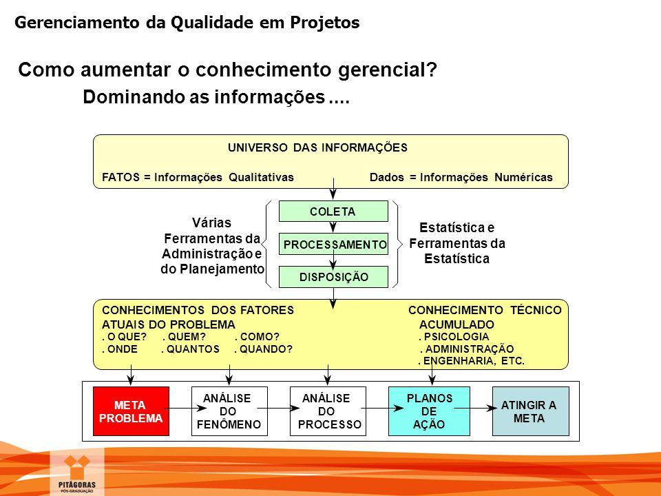 Gerenciamento da Qualidade em Projetos Como aumentar o conhecimento gerencial? Dominando as informações.... UNIVERSO DAS INFORMAÇÕES FATOS = Informaçõ