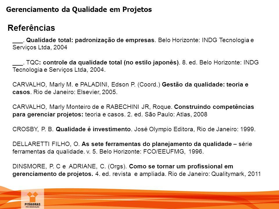 Gerenciamento da Qualidade em Projetos Referências ___. Qualidade total: padronização de empresas. Belo Horizonte: INDG Tecnologia e Serviços Ltda, 20