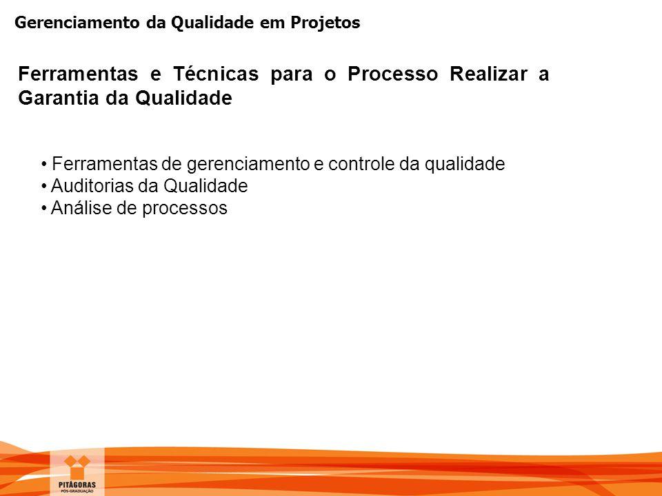Gerenciamento da Qualidade em Projetos Ferramentas e Técnicas para o Processo Realizar a Garantia da Qualidade Ferramentas de gerenciamento e controle