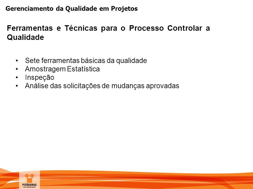 Gerenciamento da Qualidade em Projetos Ferramentas e Técnicas para o Processo Controlar a Qualidade Sete ferramentas básicas da qualidade Amostragem E
