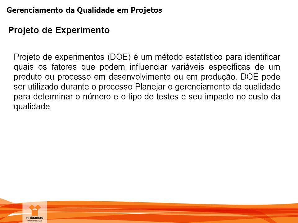 Projeto de Experimento Projeto de experimentos (DOE) é um método estatístico para identificar quais os fatores que podem influenciar variáveis  espe